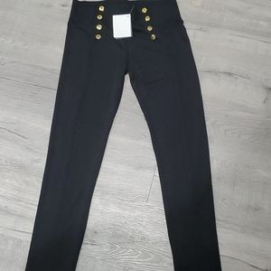 Black Ponte Leggings with Gold Buttons